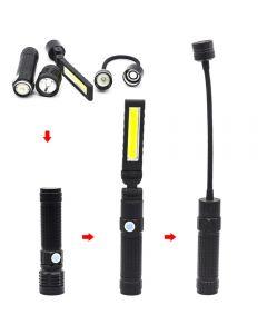 T6 starkes Licht LED-Taschenlampe mit starkem, faltbarem, wiederaufladbarem, tragbarem Cob