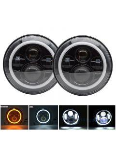 1 Paar 7-Zoll-LED-Scheinwerfer mit Halo-Ring-Eckaugenscheinwerfern für Jeep Wrangler Suzuki Samurai